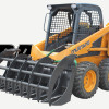 Skid Steer Equipped With Root Rake Grapple