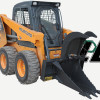 Skid Steer Loader Equipped With Stump Bucket Grapple