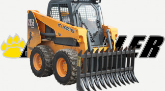 Skid Steer Loader Equipped With Root Rake
