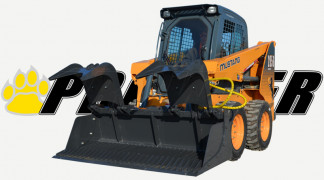 Skid Steer Equipped With Rock Grapple Bucket