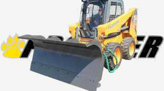 Skid Steer Equipped With Snow Plow