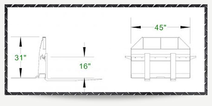 42 Inch Standard Duty Skid Steer Pallet Forks